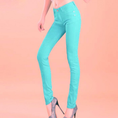 Sea Green Female Stretchable Cotton Jeans Pencil Pants Denim Trousers