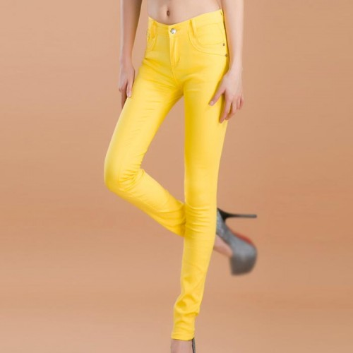 Yellow Female Stretchable Cotton Jeans Pencil Pants Denim Trousers