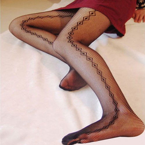 Black Women Fishnet Net Pattern Stockings (12)