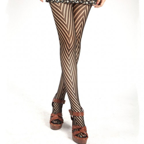 Womens Net Stripe Fishnet Pantyhose Tights Stockings