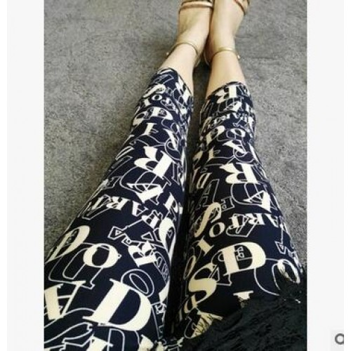 Women Summer Printed Elastic Tie-dye Capri 9