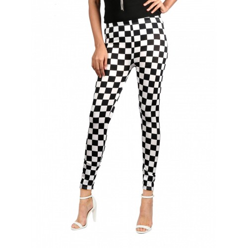 Women Slim Skinny Pencil Checks Print Leggings