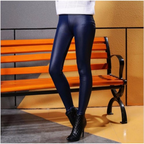 Faux Leather Waist Skinny Leggings Pencil Pant Navy