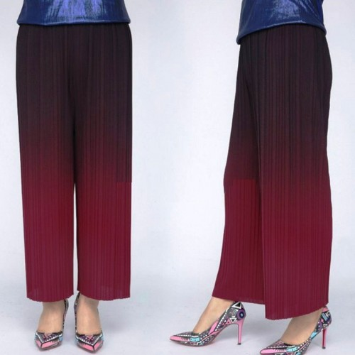 Women Summer Drape Pleated Wide Leg Trousers Gradient Color Loose Casual Pants