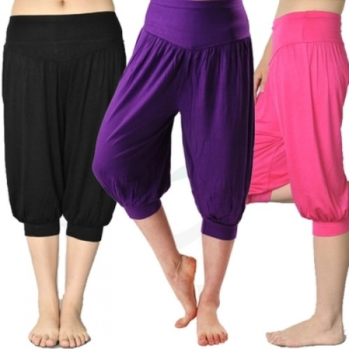 New Women casual harem pants high waist pants dance club wide leg loose calf length pants