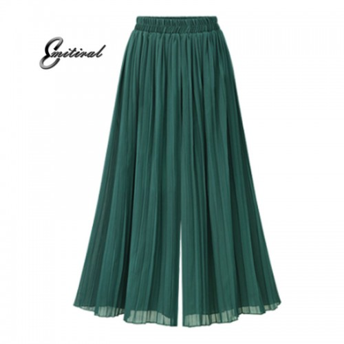 Summer European Style Pleated Women Wide Leg Pants Loose Chiffon Anklet Length