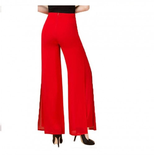 Summer High Quality Fashion OL Temperament Women Chiffon Wide Leg Pants
