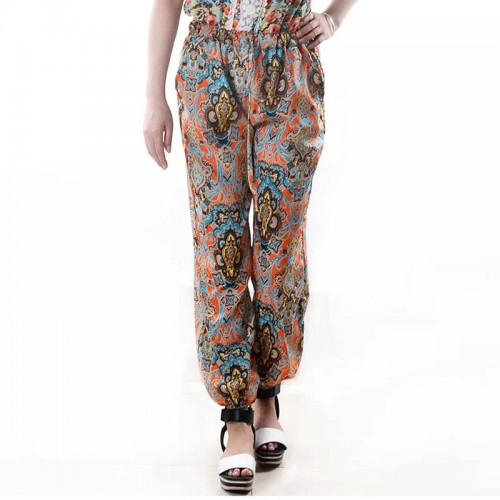 Women Boho Flower Long Pants Loose Straight Pantyhose Bloomers Thin Summer Beach Trousers FS99