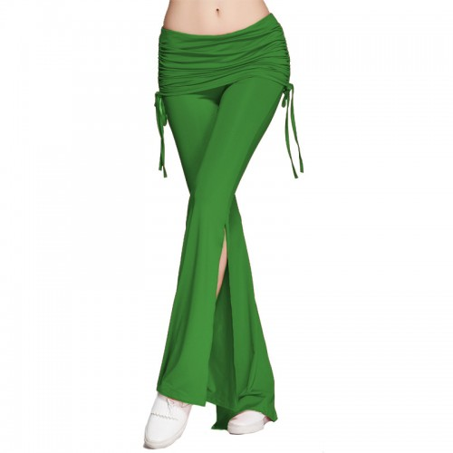 Women Casual Multicolor Pants Women Stretch Harem Dance Club Pants Wide Leg Loose Long Trousers Bell