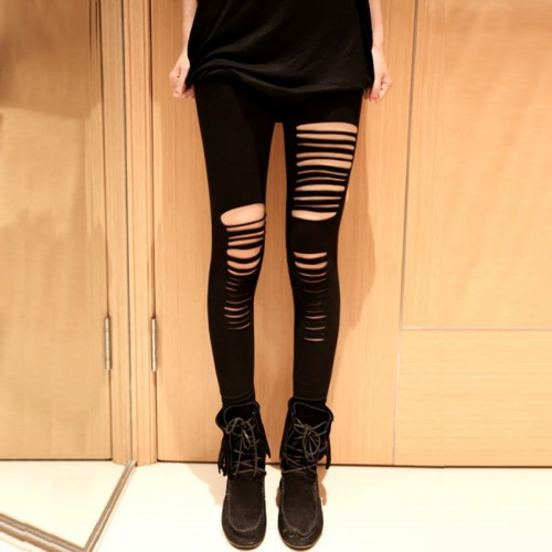 Women Irregular Cut Trousers Girls Skinny Hole LeggingsStretchy Slim Pants Hot Selling