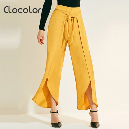 Women Pants New Loose Wide Ruffle Full Leg Long Fashion Vacation