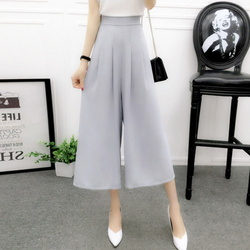 Women s summer cotton linen wide leg pants big yards loose pant fashion culottes elastic waist