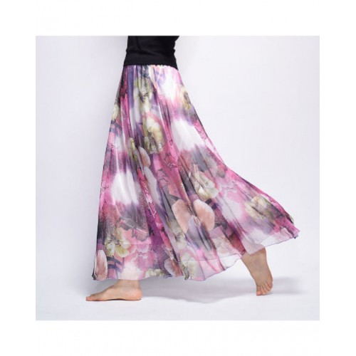 Vintage Bohemia Chiffon Floral Printed Skirt