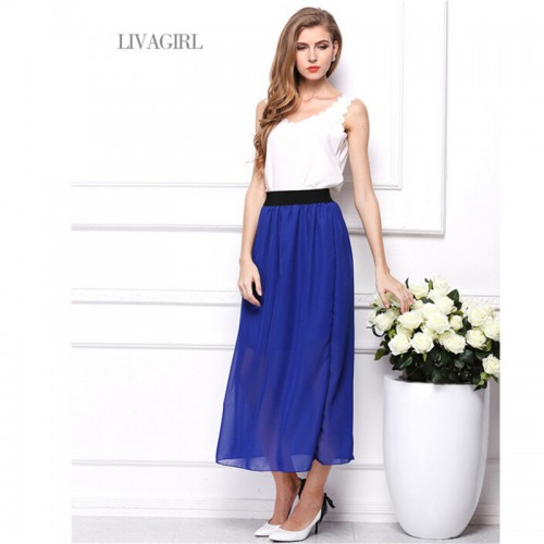 Fashion Summer Style Long Skirt Solid Ankle Length Pleated Natural Chiffon Maxi Shirt Beach Boho Vintage