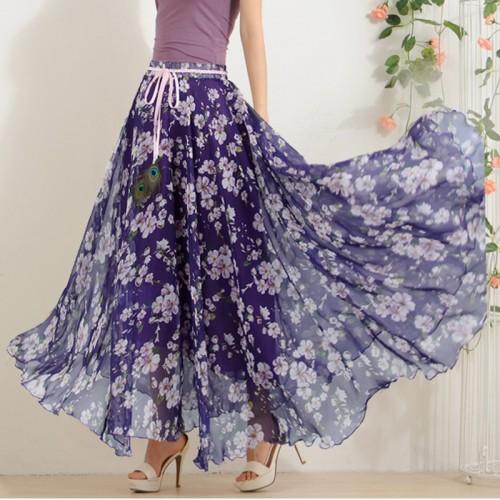 Hot Elegant Fancy Flower Print Skirt Long Women Fashion Peacock Feather Elastic Waist Ultra long Big