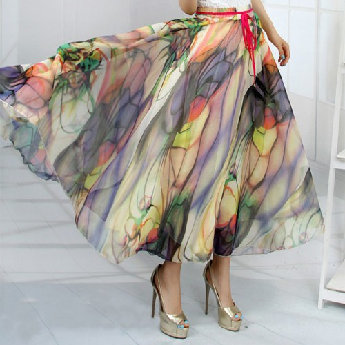 Hot New 19 Patterns Peacock Feather Fake Silk Elastic Waist Big Bottom Printed Bohemia Skirt Women