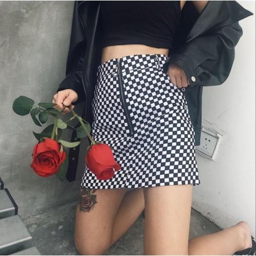 Korea Harajuku wind ring half zipper lattice skirt A skirt pack arm skirt