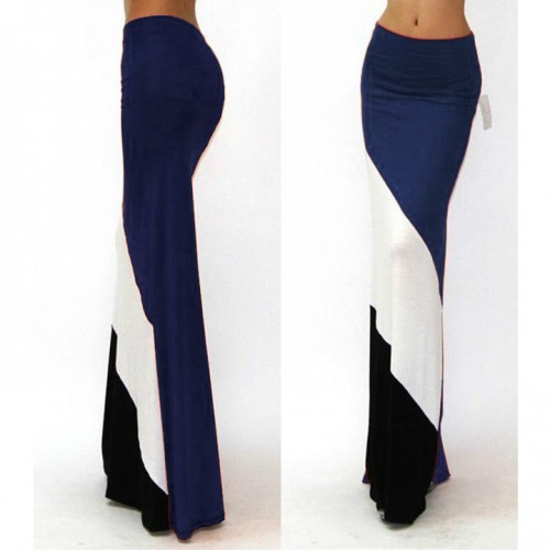 Long Skirts Women Casual Fashion Summer Maxi Skirt Elastic High Waist Splicing Color Skirt