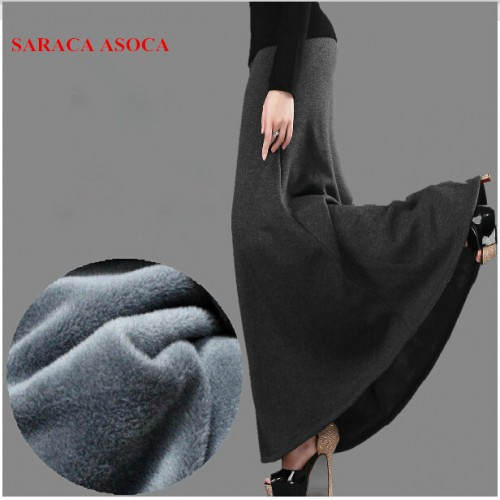 New Arrival Autumn and Winter Skirt Fashion Girls Thick Fabric High Waist Trumpet Long Skirt Female