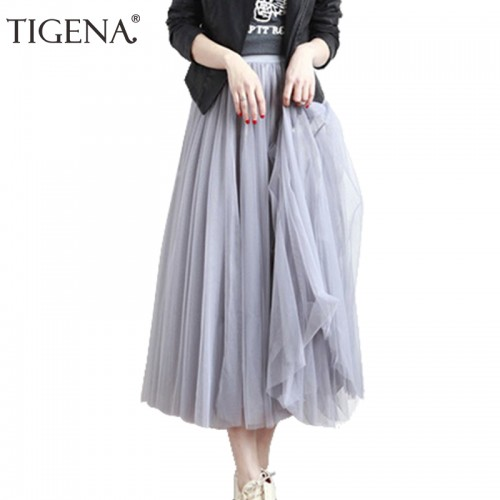 Refeeldeer 3 Layers Tulle Skirts Womens Spring Autumn Tutu Long Maxi Skirt Female High