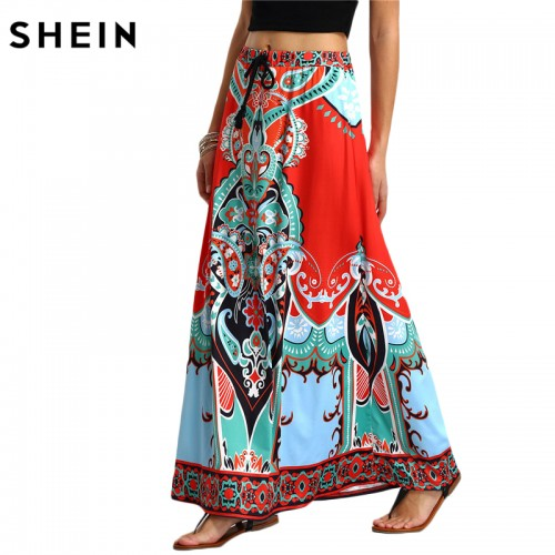 SHEIN Long Maxi Skirt For Women New Arrival Ladies Multicolor Vintage Tribal Print Tassel Tied Waist