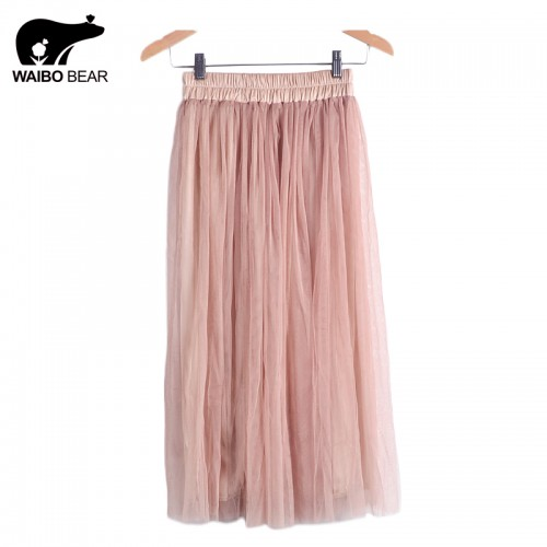 Skirt Ladies Elegant Casual High Waist Pleated Skirt Long Tulle Skirts Straight Skirts Solid Mesh