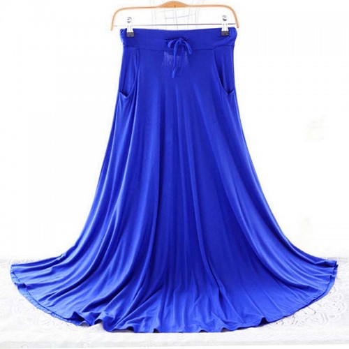 Spring Autumn Skirts Women Modal Long Skirt Casual Ladies Maxi Skirts Pleated Midi Skirt