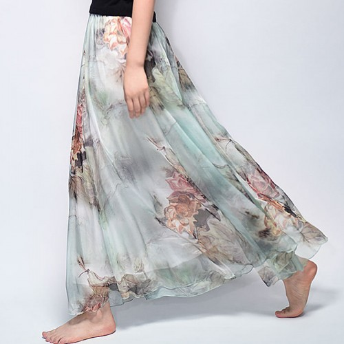 Summer New Fashion Vintage Bohemia Chiffon Floral Printed Women Boho Floor Length Long Maxi Beach