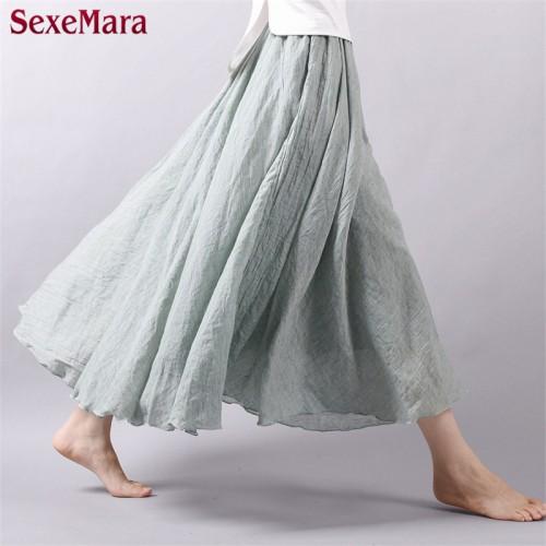 Summer New Vintage Bohemia Cotton Linen Pleated Women Boho Floor Length Long Maxi