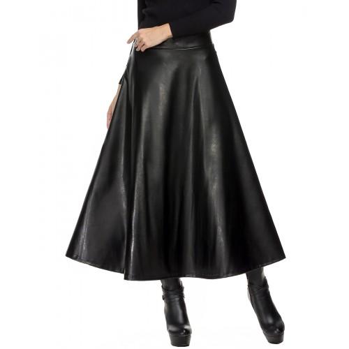 Winter PU Leather Skirt Women saia faldas Maxi Long Skirts Womens High Waist Slim Autumn Vintage