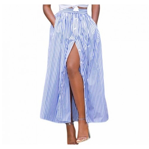 Women Girl Summer Autumn Clothing Suit Sets Blue White Stripes Button Front Maxi Skirt