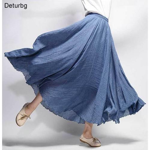 Women s Elegant High Waist Linen Maxi Skirt Summer Ladies Casual Elastic Waist Layers