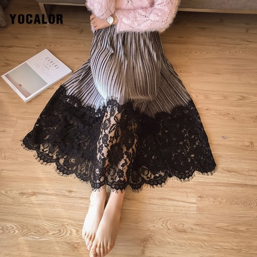 YOCALOR Elegant Pleated Lace Patchwork Midi Women Long Warm Skirts High Waist Winter Maxi Black Vintage