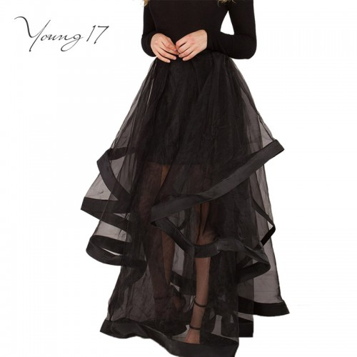 Young Floor Length Mesh Patchwork Ball Gown Skirt Fashion Empire Organza Party Skirt Elegant Pink