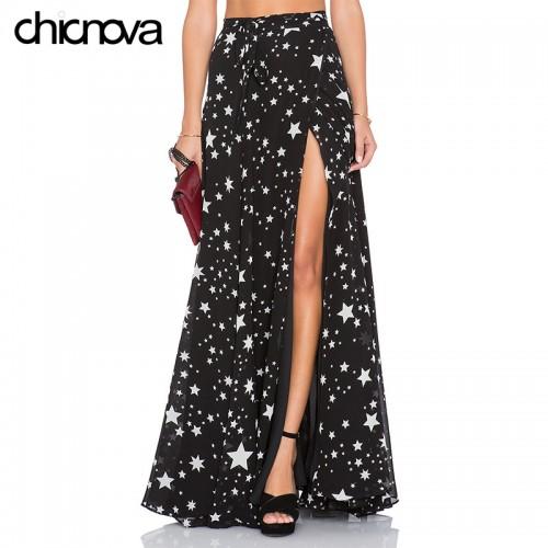 high waist long skirts womens Pleated Star printing floor length chiffon split skirt