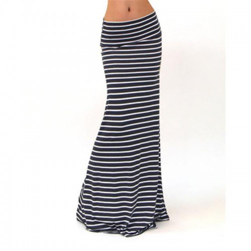 snowshine 4503 Women Asymmetric High Waist Striped Fold Over Stretch Long Maxi Skirt free shipping
