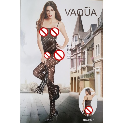 VAQUA Womens Elastic Full Body Open Crotch Net Bodystockings Bodysuit (3)