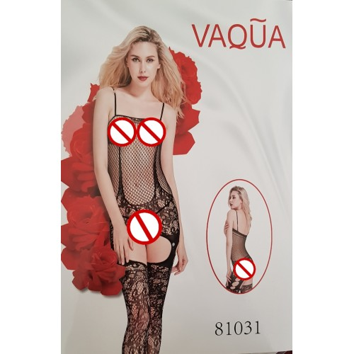 VAQUA Womens Elastic Full Body Open Crotch Net Bodystockings Bodysuit (4)