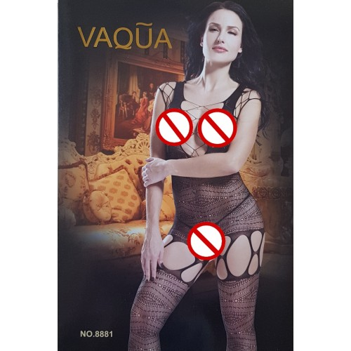 VAQUA Womens Elastic Full Body Open Crotch Net Bodystockings Bodysuit (5)