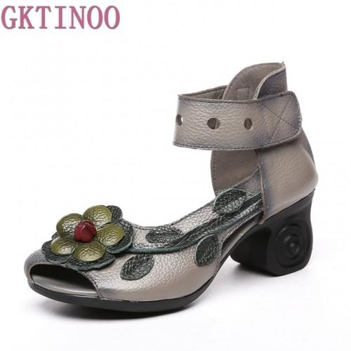 2018 Femmes pais Talons Sandales Fleur D t de Style Ethnique Main V ritable Chaussures En.