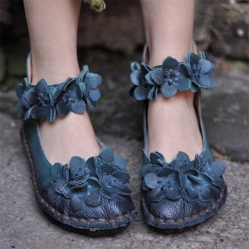 Artmu Cru Femmes de Fleurs Chaussures Doux La Main En Cuir V ritable Bas Appartements Doux.
