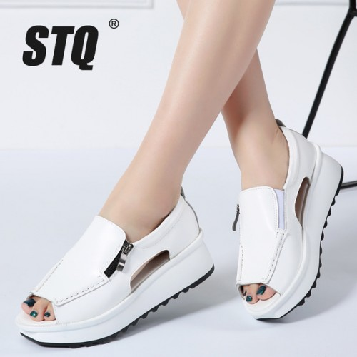 STQ 2018 mujeres Del Verano sandalias de las cu as de las se oras del dedo.