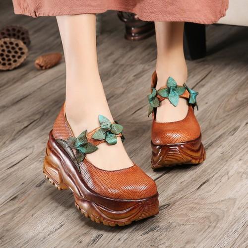 Tyawkiho Mujeres Del Cuero Genuino Bombea 8 CM zapatos de Tac n Alto de La Flor