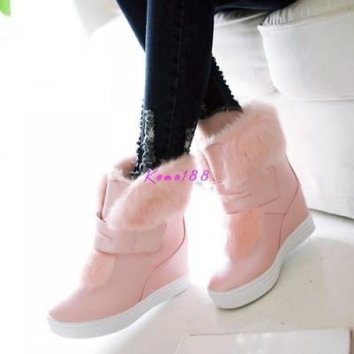 Womens pull on hidden heel Ankle Boots Warm Faux fur Platform casual Snow Shoes
