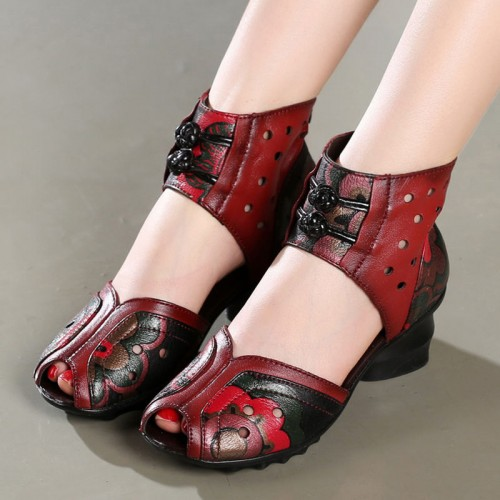 womens ladies retro floral open toe pumps dress shoes