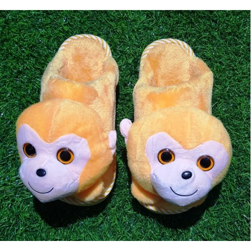 Monkey Plush Cotton Furry Indoor Warm Home Floor Slippers Fluffy Fuzzy Shoes