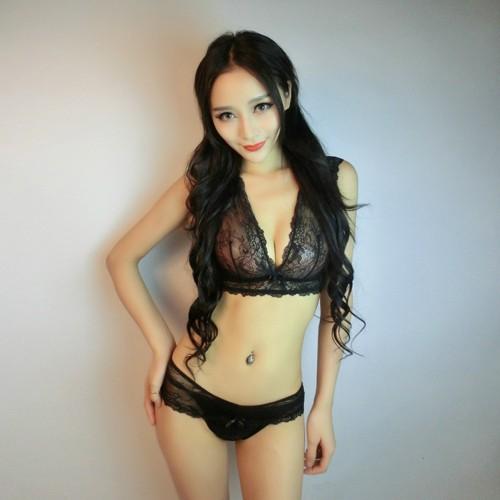 Lingerie Bra Set Translucent Wirefree Lace Hollow Bra Intimates Ladies Underwear Set