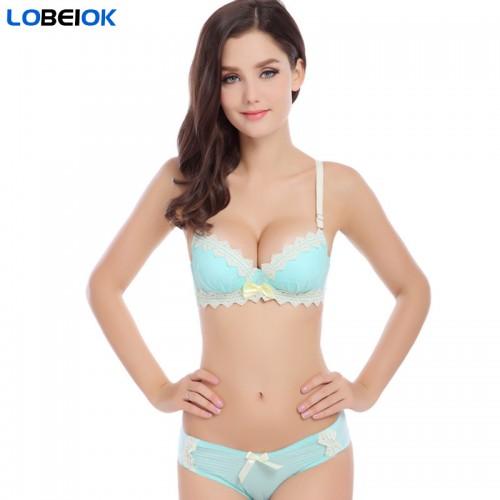 LOBEIOK new fashion womens bra and briefs set girls cotton push up underwear bras suit