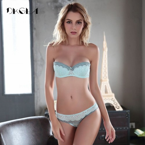 New young Half Cup bra set Plus Size D E cup Plunge thin womens bras