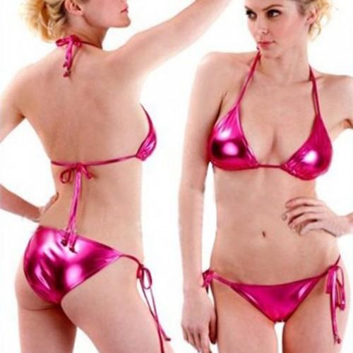 Set Women Patent Leather Solid Erotic Underwear Brazilian Triangle Lovely Bikini Mini Swimwear Swimsuit Lace